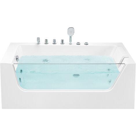 Corner Hot Tub Bath Hydro Massage White Acrylic with Headrest Overflow 170 x 80 cm Puquio
