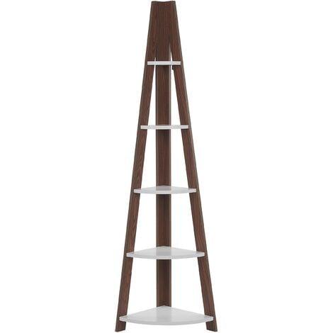 Corner Ladder Shelf Dark Wood and White MOBILE SOLO