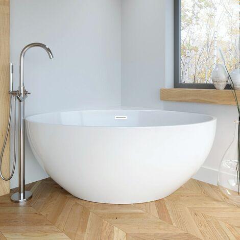 "main image of ""Corner Modern Freestanding Bath Double Ended Overflow Waste White Acrylic Luxury"""