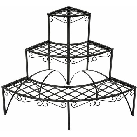 Corner plant stand with 3 levels - outdoor plant stand, pot stand, plant shelf - black