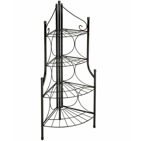 Corner plant stand with 4 levels - outdoor plant stand, pot stand, plant shelf - black