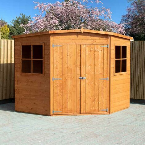 Corner Shed Double Doors Tongue and Groove Garden Shed Workshop Approx 8 x 8 Feet - Honey Brown Timber Basecoat