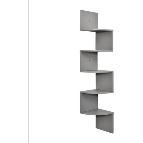 Corner Shelf, 5-Tier Floating Wall Mounted Shelf, Grey Wood Hanging Storage Rack for Book Plant Display