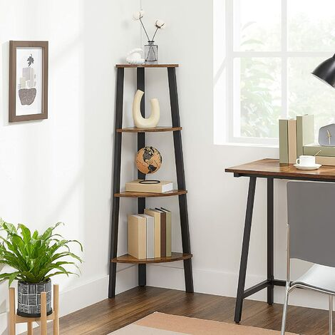 VASAGLE Corner Shelf Rack, 4-Tier Office Organiser Unit, Ladder Shaped Bookcase, for Home, Living Room, Bedroom, Balcony, Vintage, Black, by SONGMICS, LLS34X