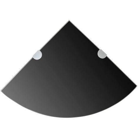 Corner Shelf with Chrome Supports Glass Black 35x35 cm - Black
