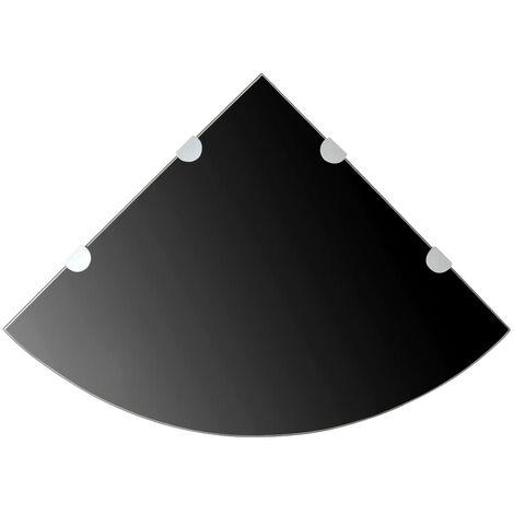 Corner Shelf with Chrome Supports Glass Black 45x45 cm - Black