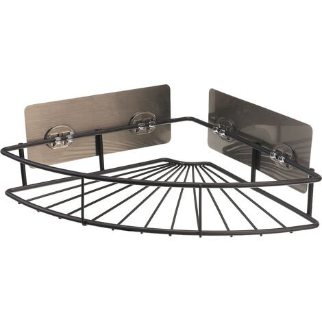 "main image of ""Corner Shower Caddy SUS304 Stainless Steel Self-adhesive Organizer Storage Rack BROWN"""