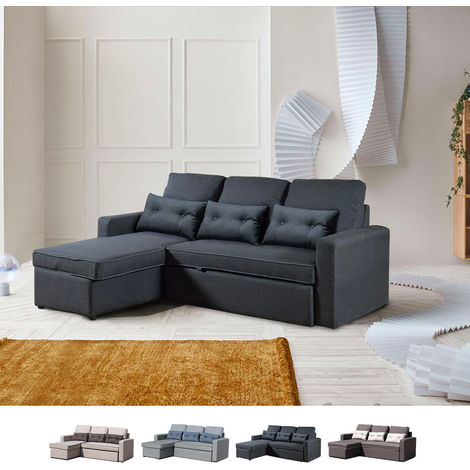 Corner Sofa Bed in Microfiber 3 Seats with Cushions SMERALDO