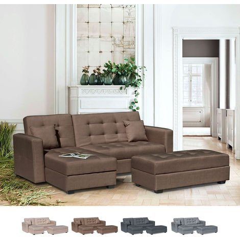 Corner Sofa Bed with Ample Footstool 3 Seats MADREPERLA