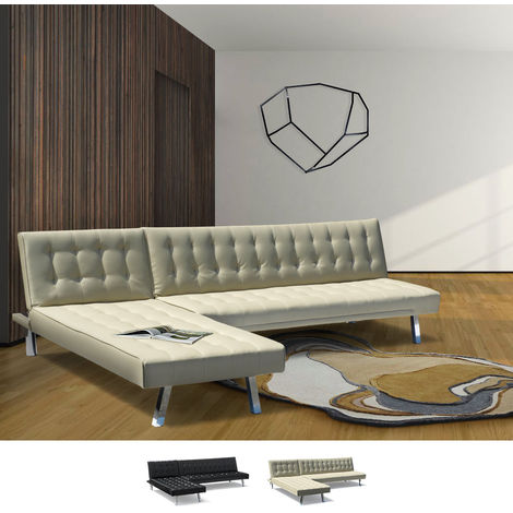Corner Sofa Bed with Lounger in Faux Leather ZIRCONE