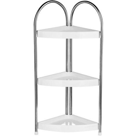 Corner Storage Unit,3 Tier,White PP/Stainless Steel Frame