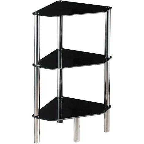 Corner unit, 3 tier black glass, chrome finish legs