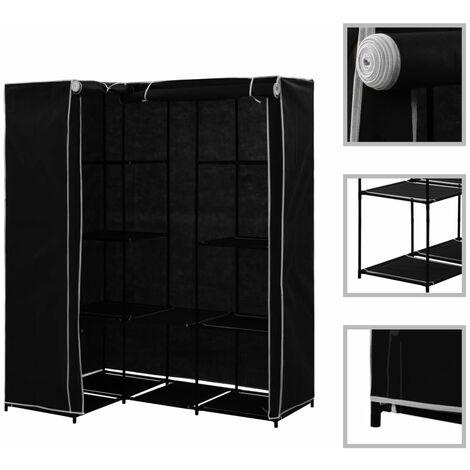 Corner Wardrobe Black 130x87x169 cm - Black
