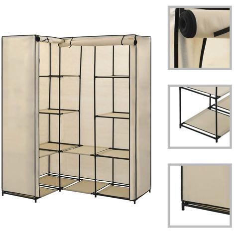 Corner Wardrobe Cream 130x87x169 cm