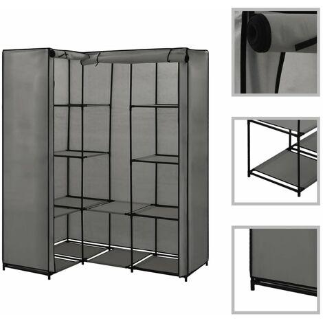 Corner Wardrobe Grey 130x87x169 cm - Grey