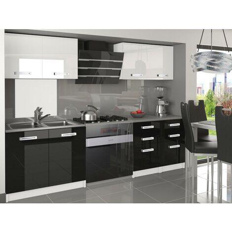 CORNETTA | Cuisine Complète Modulaire Linéaire L 160cm 6 pcs | Plan de travail INCLUS | Ensemble armoires meubles cuisine - Blanc-Noir