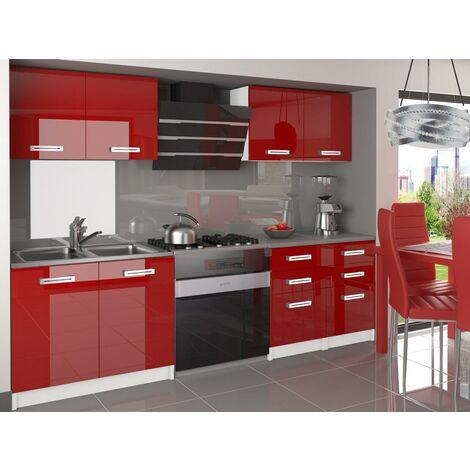 CORNETTA   Cuisine Complète Modulaire Linéaire L 160cm 6 pcs   Plan de travail INCLUS   Ensemble armoires meubles de cuisine   Rouge