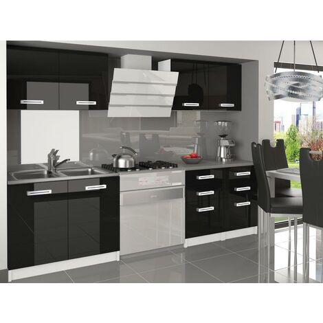 CORNETTA | Cuisine Complète Modulaire Linéaire L160 cm 6 pcs | Plan de travail INCLUS | Ensemble armoires meubles cuisine - Noir