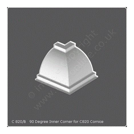 Cornice Moulding Internal Angle - 90 Degree for C820 Cornice White