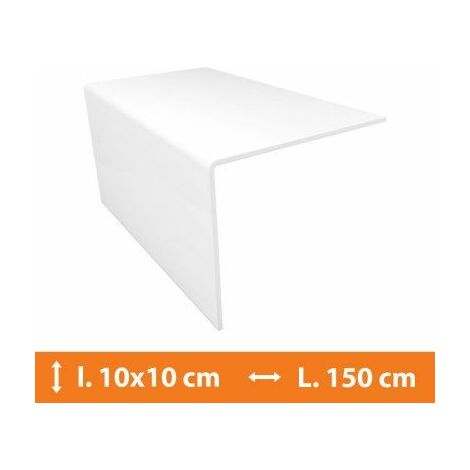 Cornière PVC Blanc - 10 x 10 cm - L.150 cm - Blanc
