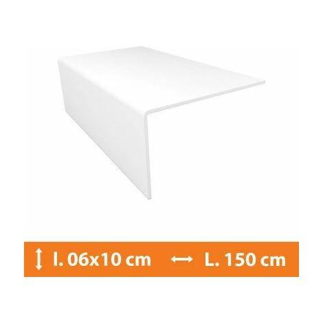 Cornière PVC Blanc - 6 x 10 cm - L.150 cm - Blanc