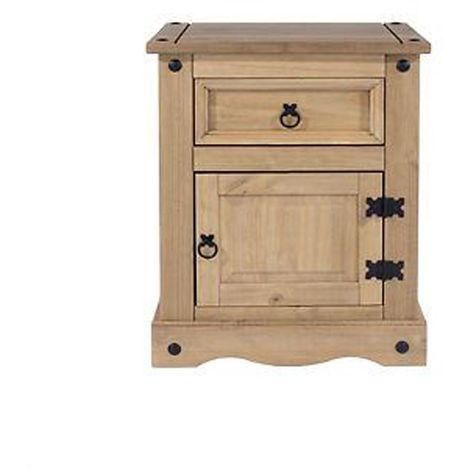 Corona 1 Door 1 Drawer Bedside Cabinet - Antique Style Furniture