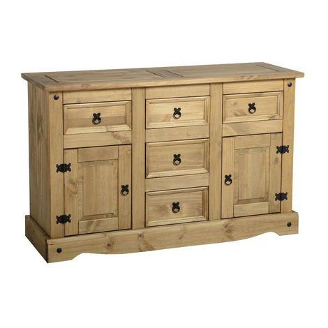 Corona 2 Door 5 Drawer Sideboard Distressed Waxed Pine