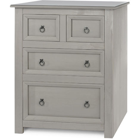 Corona Compact 2+2 Drawer Chest with Glass Top