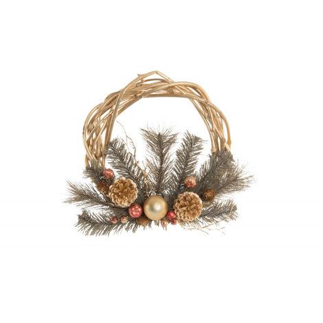 Corona de Navidad/Guirnalda Dorada de Ratan, Original/Navideño. 30 cm.-Hogarymas-