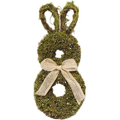 Corona de Pascua, Corona de conejito de Pascua con lazo de arpillera, Corona de ramitas de ratán para colgar en la pared, Decoración de Pascua, 40 x 19 cm