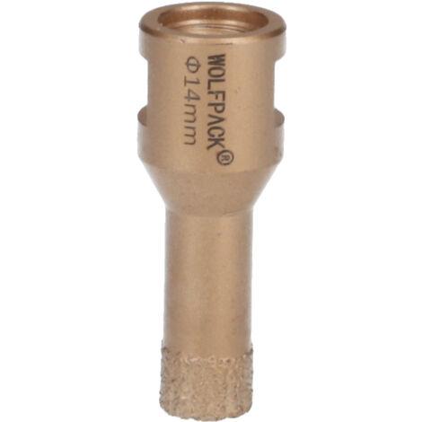 Corona Diamante Para Amoladora Ø 14 mm. Conexión Rosca M14. Corte Seco