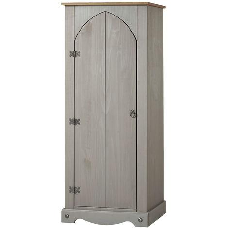 Corona Grey & Antique Waxed Pine Vestry Cupboard