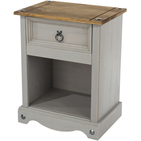 Corona Grey Washed Effect Pine 1 Drawer Bedside Cabinet