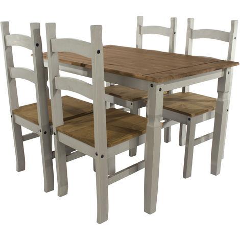 Corona Grey Washed Effect Pine Rectangular Large Dining Table & 4 Chair Set