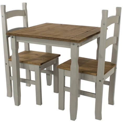 Corona Grey Washed Effect Pine Square Small Dining Table & 2 Chair Set