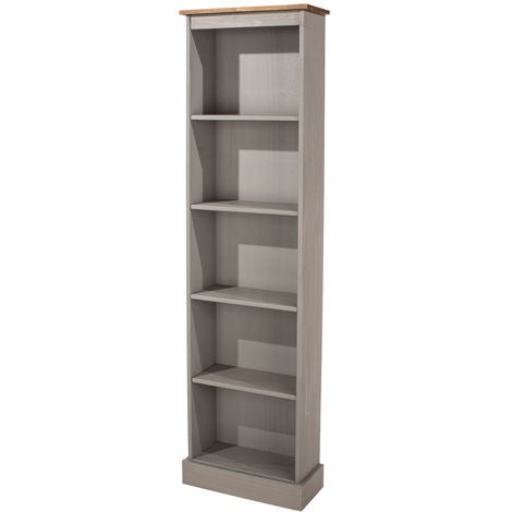 Corona Grey Washed Effect Pine Tall Narrow Bookcases