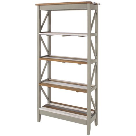 Corona Vintage Mixed Colour Top & Grey Waxed Pine 5 Tier Wide Shelf Unit
