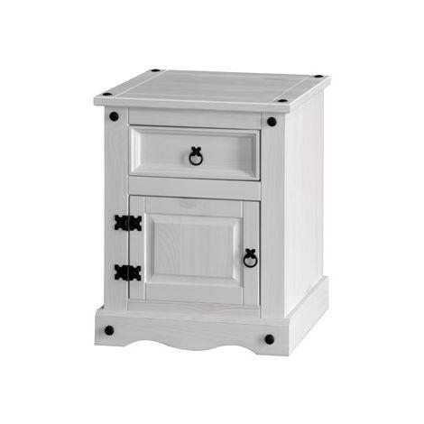 Corona White 1 Door, 1 Drawer Bedside Cabinet