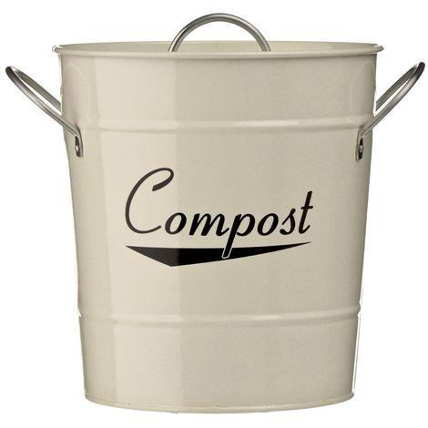Coronet Compost Bin,Cream Galvanised Steel (Powder Coated),Zinc Handles/Plastic Inner Bucket
