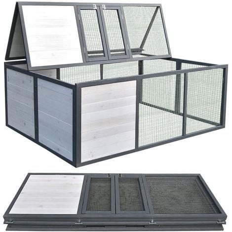 Corral exterior plegable para conejos Jaula exterior para conejillos de indias Corral blanco/gris recinto exterior para animales