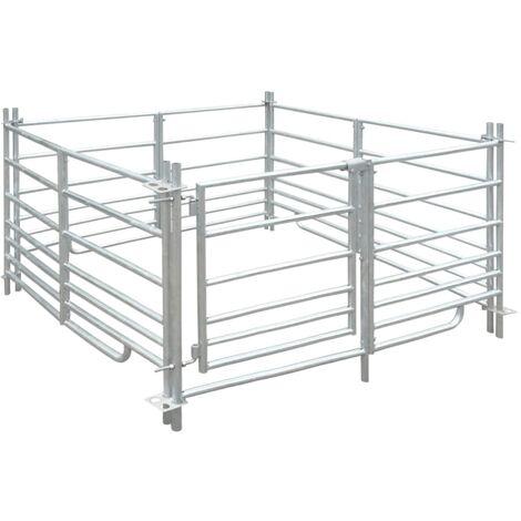 Corral para ovejas de 4 paneles acero galvanizado 137x137x92 cm