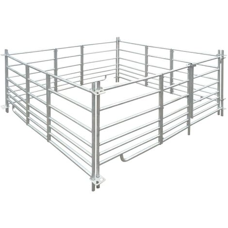 Corral para ovejas de 4 paneles acero galvanizado 183x183x92 cm