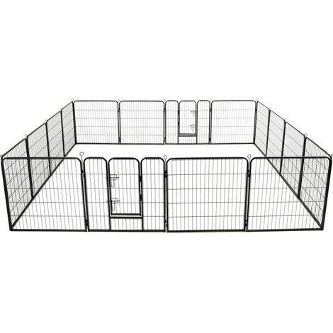 Corral para perros 16 paneles de acero 80x80 cm negro