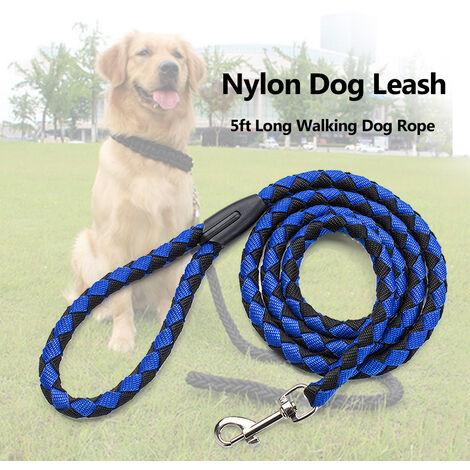 Correa de nylon para perros, cuerda larga para perros de 5 pies, corchete metalico, cuerda de traccion,Azul