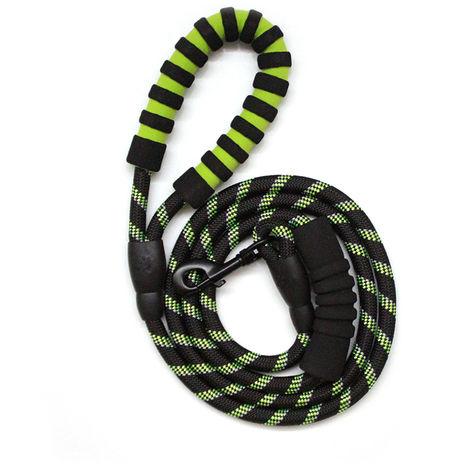 Correa del perro de dos asas de cuerda reflectante perro de la cuerda de traccion de cadena para entrenamiento del animal domestico caminar por la calle, verde