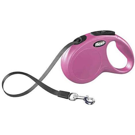 Correa extensible Flexi New Classic de cinta S en color rosa   Correa de perro hasta 15 kg   Correa de 5 metros
