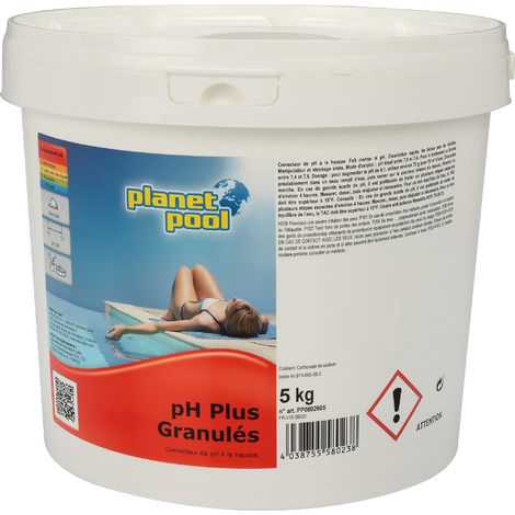 Correcteur PH+ Planet Pool - Seau 5 kg - Blanc