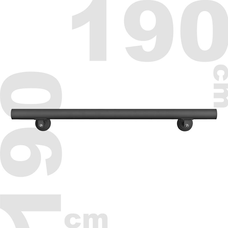 Wiltec Corrimano Attacco a Parete Muro per Scale Acciaio Inossidabile 190 cm Nero