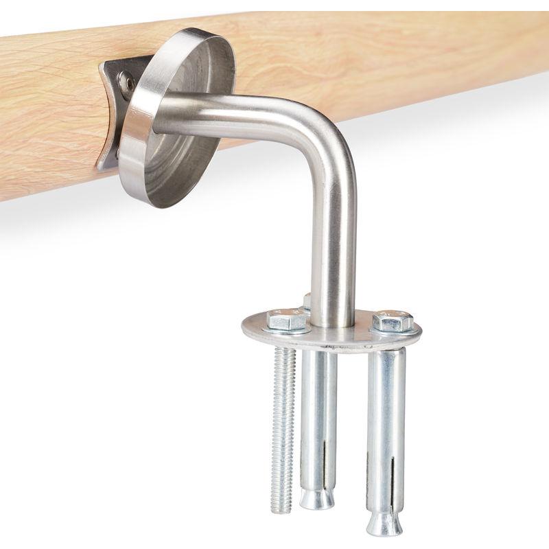 150 cm Rotondo Diametro 42 mm Relaxdays Naturale Corrimano in Alluminio Passamano per Interni o Esterni 12 x 150 x 8 cm Legno Acciaio Inox