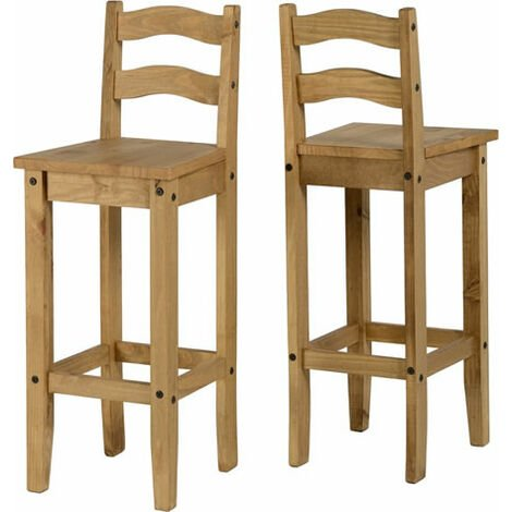 Corry Waxed Pine High Bar Stool
